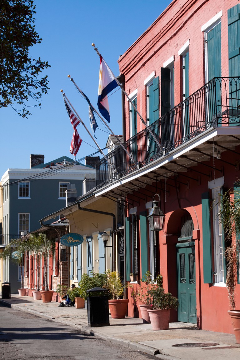 Colorful Creole townhouses in the French Quarter in New Orleans, Louisiana.