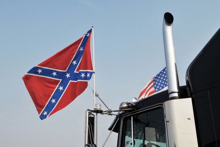 confederate flag on truck