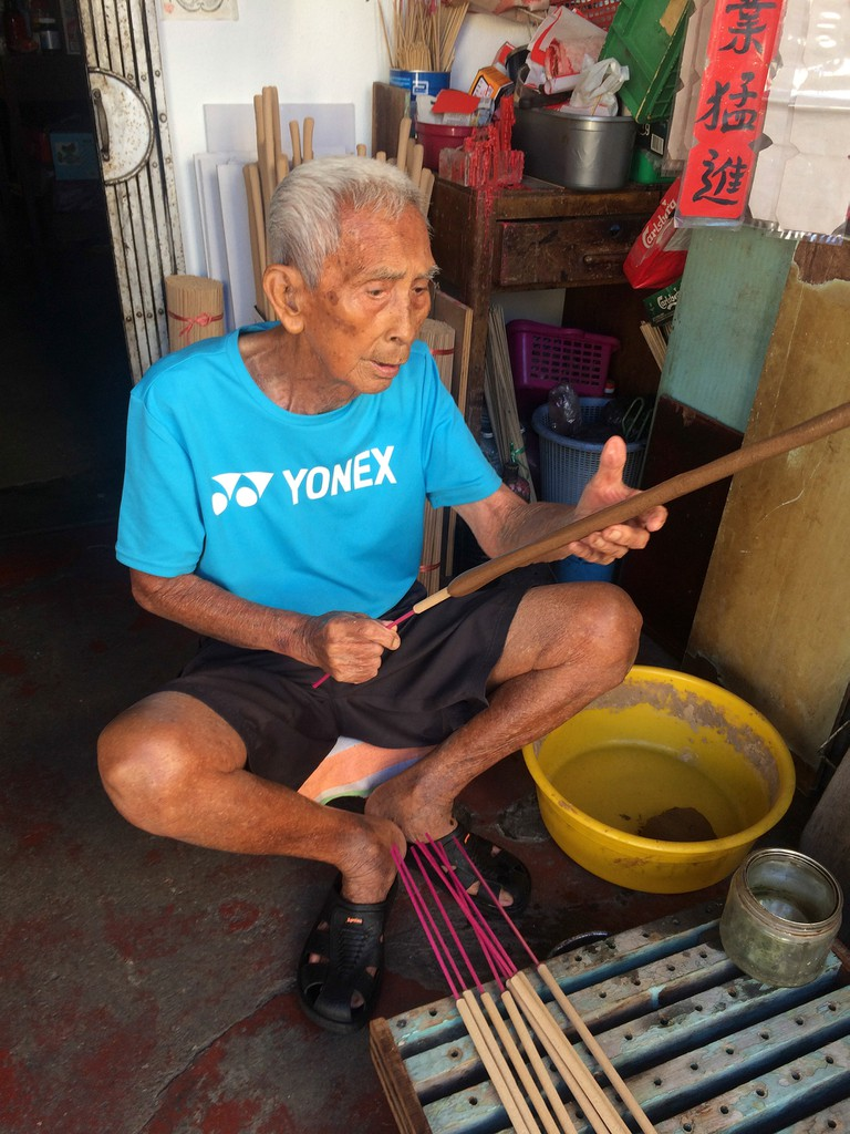 Lee Beng Chuang has been making joss sticks by hand for the last 70 years