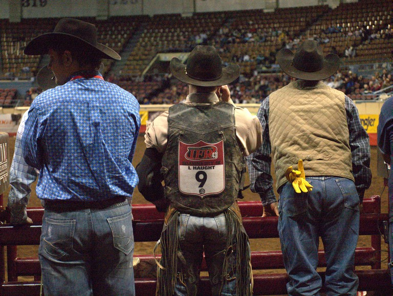 Cowboys at the National Finals Rodeo in Oklahoma City, Oklahoma, USA. Image shot 2013. Exact date unknown.