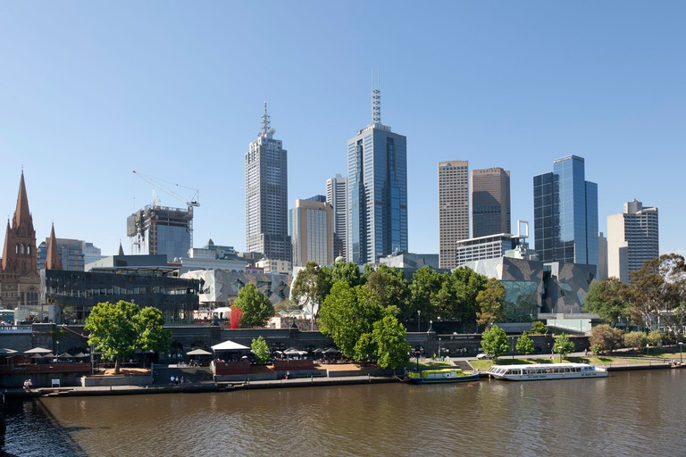Southbank of the Yarra river Melbourne, Australia