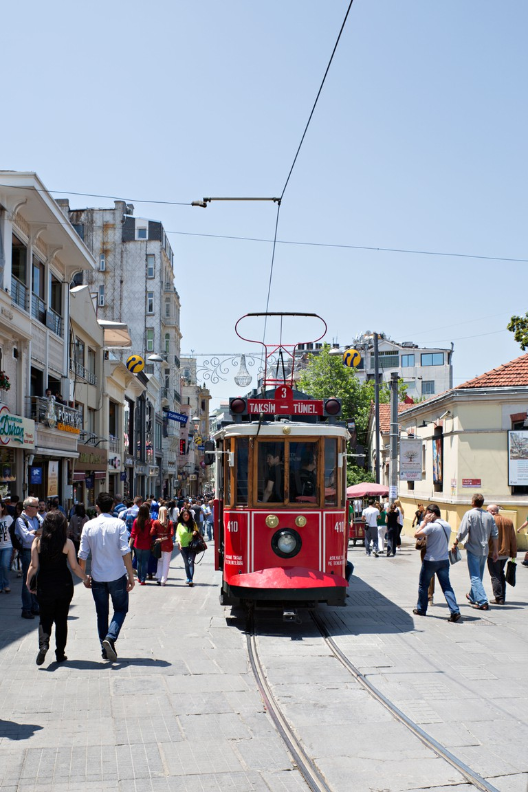 Tram in Istaiklal street of Beyoglu, Istanbul