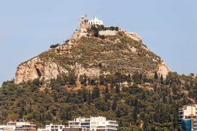 Agios Georgios, Chapel of Saint George, on top of Lykavittos Hill, also known as Mount Lycabettus, Athens, Greece