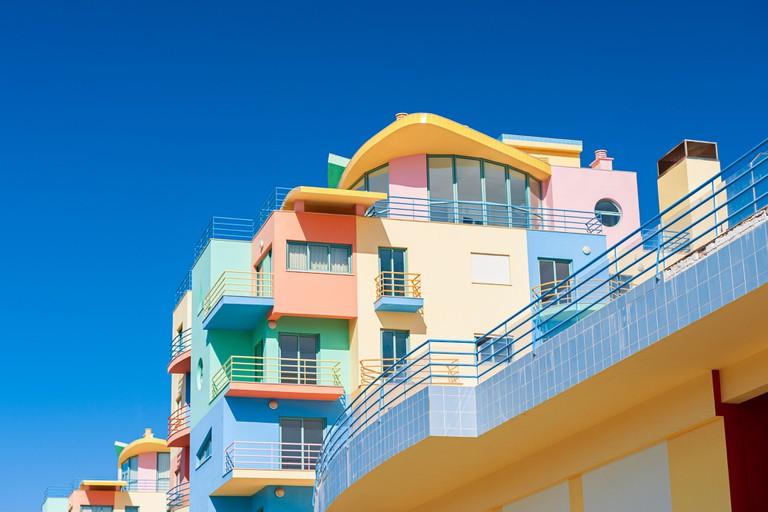 Colourful condos in Algarve Portugal