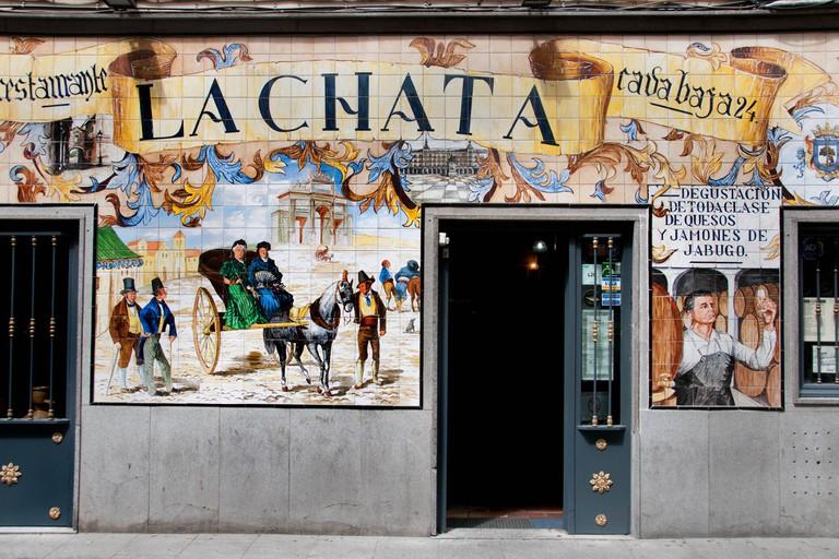 La Chata -Tapas bars in the calle de la Cava Baja in the La Latina quarter, central Madrid, Spain