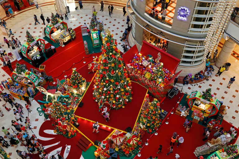 Christmas grotto and Christmas decorations in the Suria KLCC shopping mall in Kuala Lumpur, Malaysia