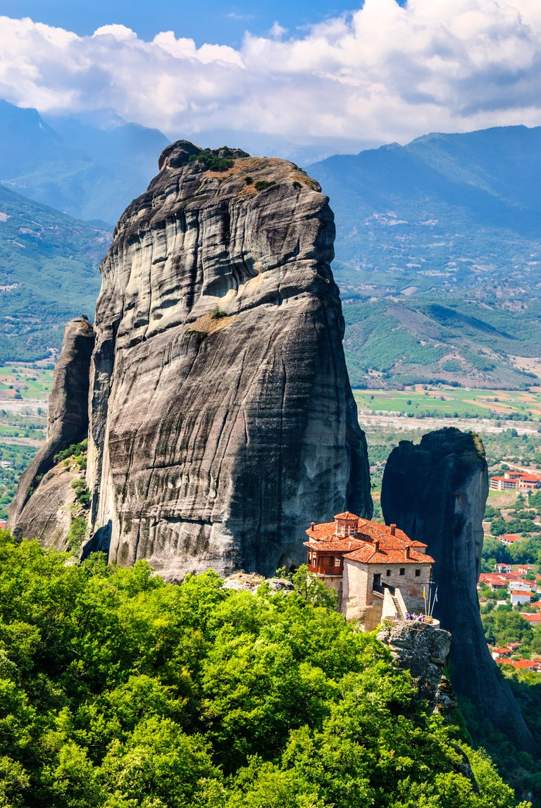 Meteora, Greece. Orthodox Roussanou Monastery on the rock Kalambaka in Thessaly greek landmark.