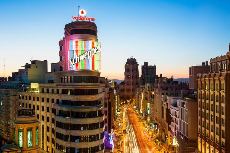 Skyline of Madrid at Dusk. Image shot 04/2019. Exact date unknown.
