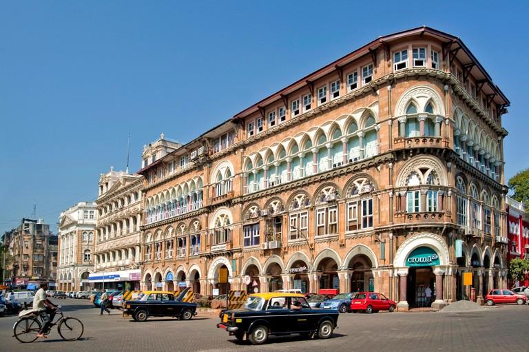 Old buildings of british period on veer nariman road fort ; Bombay ; Mumbai ; Maharashtra ; India