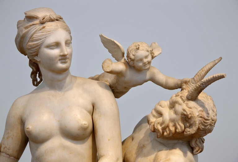 Statues of Aphrodite, Pan and Eros in the National Archaeological Museum of Athens