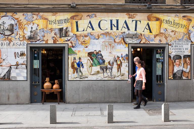 Painted Decorative Tiles outside La Chata Bar Cafe in Calle Cava Baja Madrid