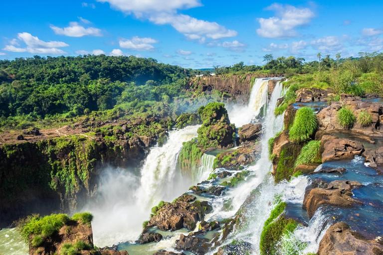 Iguazu Falls, on the border of Argentina and Brazil.