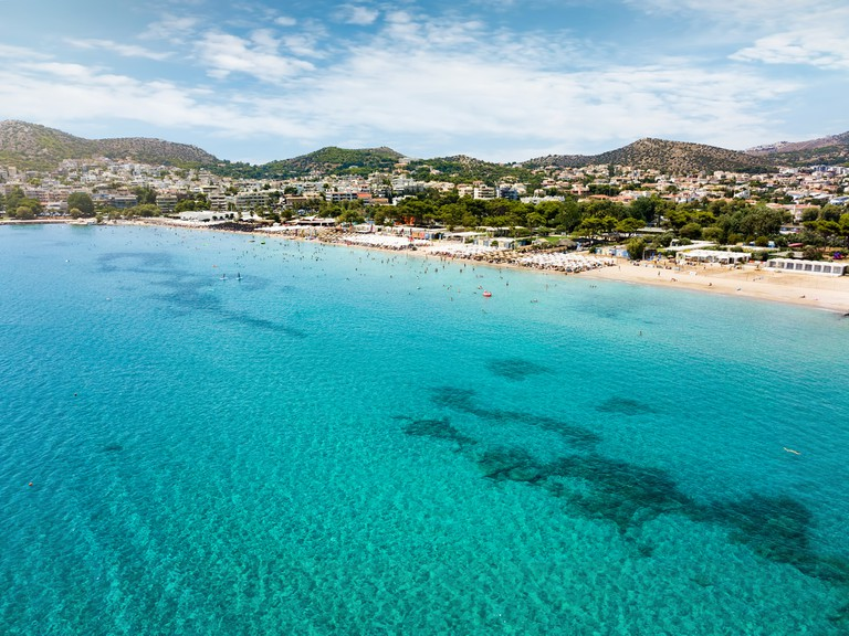 View to the turquoise sea of the holiday suburb Varkiza Beach at the south coast of Athens