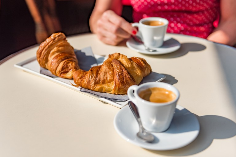 Croissants and coffee - a typical Parisian breakfast