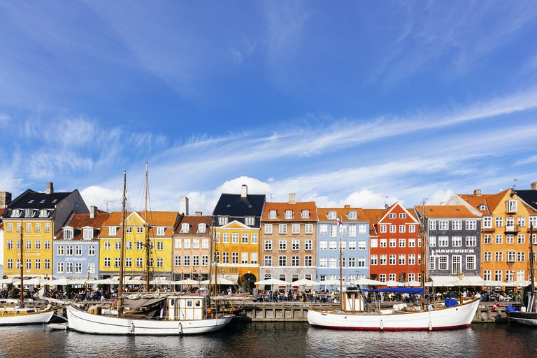 Colorful vibrant houses at Nyhavn harbor in Copenhagen, Denmark