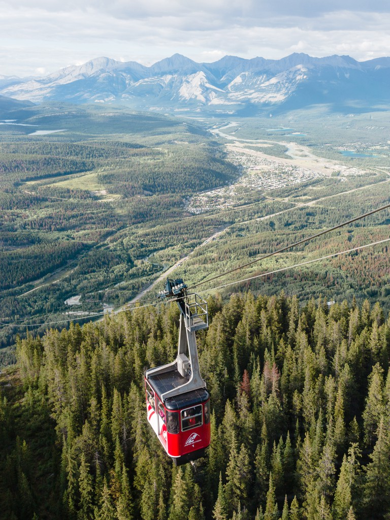 Overhead cable car over wilderness, Calgary, Canada