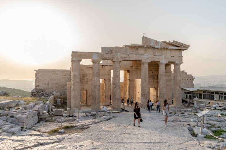 The ancient Propylaea, the entrance to the Acropolis in Athens, Greece