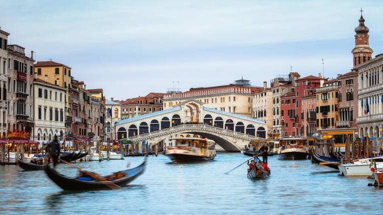 Rialto bridge panoramic, Venice, Italy