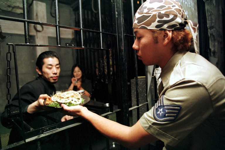 The First Prison Restaurant Opened In Ginza In Tokyo, Japan On July 23, 1999.