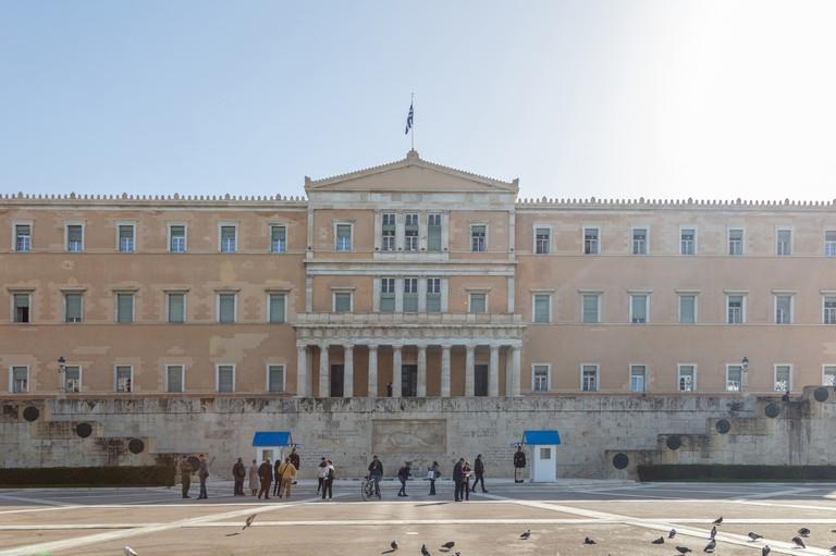 Athens Greece, Greek parliament facade, vouli, syntagma square