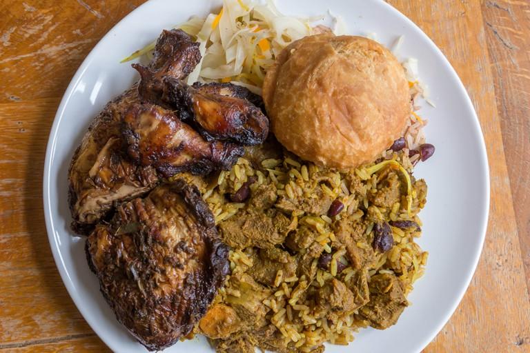Jamaican curry goat, jerk chicken and fried dumpling