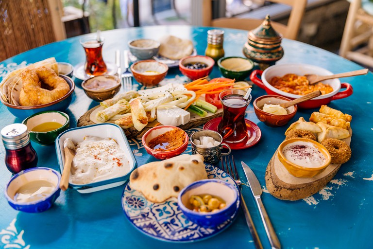 Variety of mezes dishes served in Istanbul