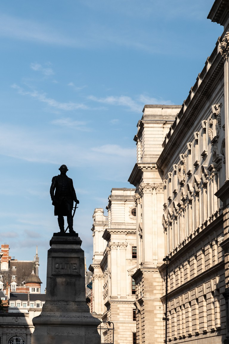Silhouette Of Robert Clive Memorial Statue In City Of Westminster, London, UK