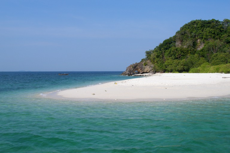 Island in Tarutao National Park, tropical lagoon with crystal clear water, Thailand