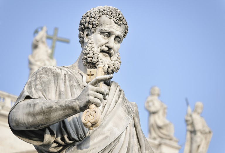 Close-up of a statue showing Saint Peter the Apostle in St Peter's Square in the Vatican City