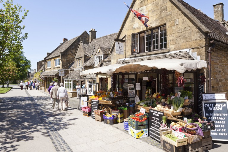 The High Street in the Cotswold village of Broadway, Worcestershire.