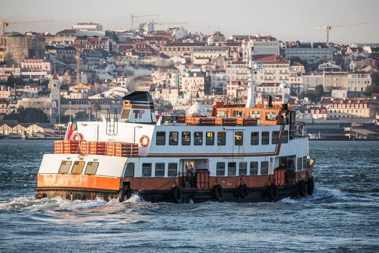 Ferry between Lisbon and Cacilhas on River Tejo, Lisbon, Portugal