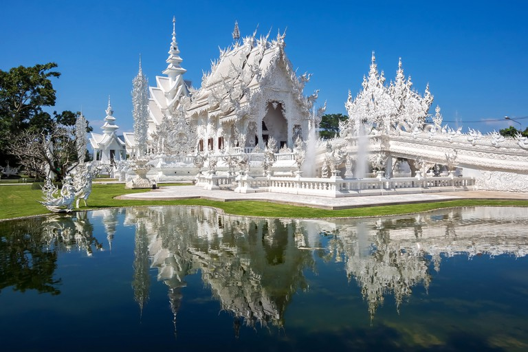 Wat Rong Khun, also known as the White Temple, in Chiang Rai, Thailand.