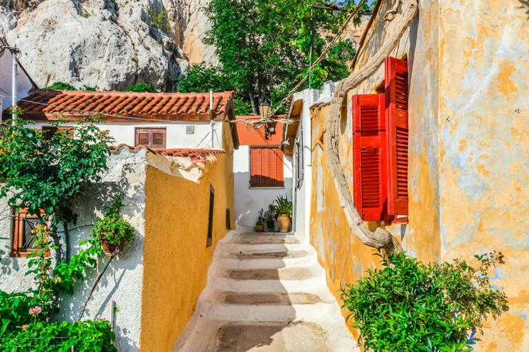 Colorful building in Plaka neighborhood of Athens, Greece