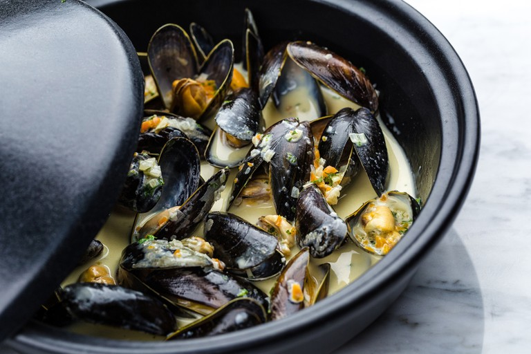 Soup of mussels in a creamy sauce are a Belgian specialty