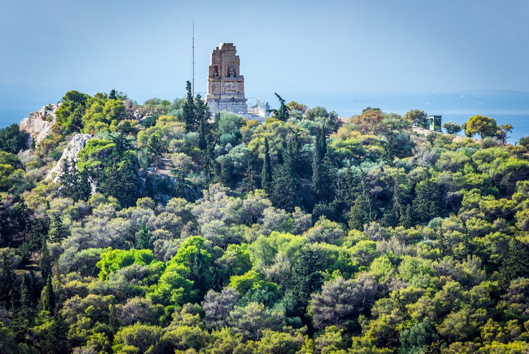 Monument of Philopappos on Musaios Hill seen from Acropolis hill in Athens, Greece