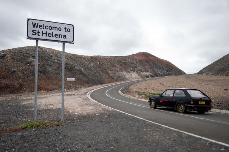 A road sign welcomes travellers to the island near St Helena airport