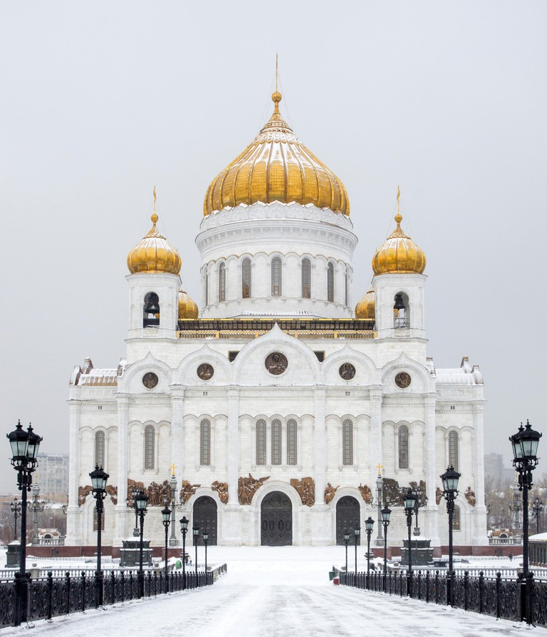 Cathedral of Christ the Saviour in winter Moscow Russia