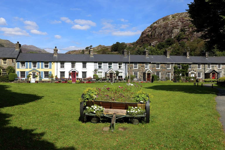 Pretty row of cottages in Beddgelert, North Wales.