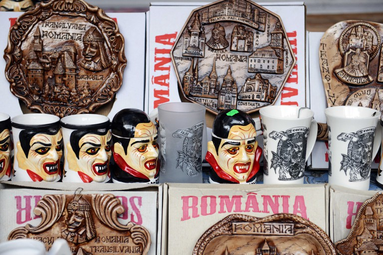 Dracula themed mugs and souvenirs sold at Bran castle in Romania.
