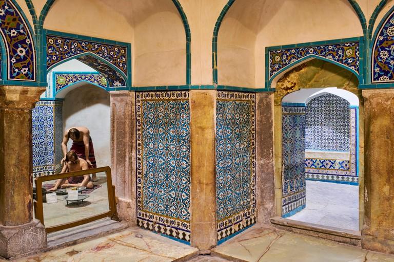 Cleansing ritual at a Hammam