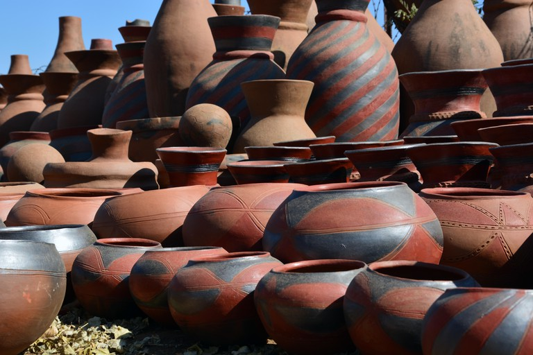 Clay pots made at the Mukondeni Pottery Factory are available for sale to the locals and tourists in the Northern Limpopo region of South Africa.