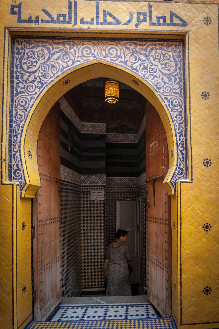 Entrance of typical hammam in Morocco