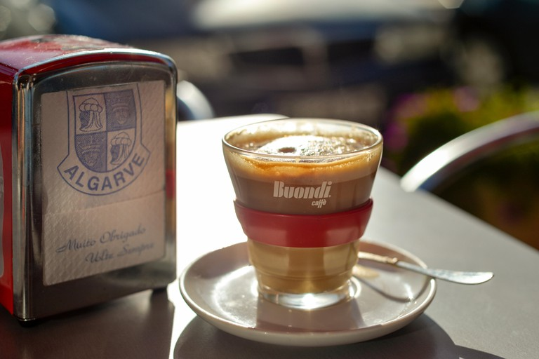 caffe latte, Galao on a table