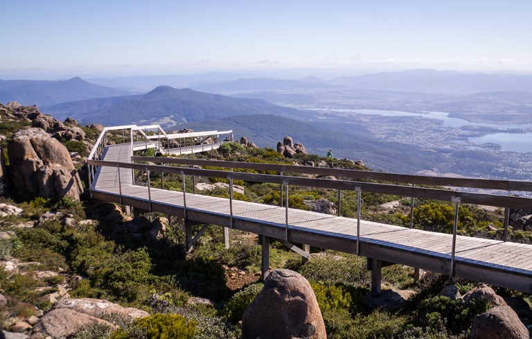 Walkway at Mt Wellington lookout in Hobart, Tasmania