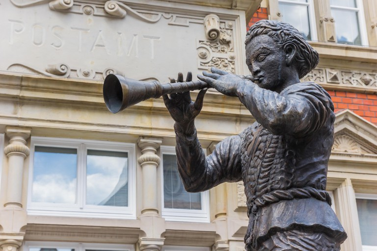 Statue of the Pied Piper of Hamelin in Hameln, Germany