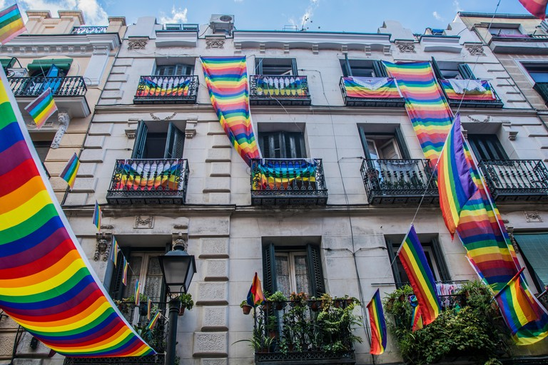 Madrid, Spain. Pride in the neigbourhood of chueca, in Madrid, Spain. , .