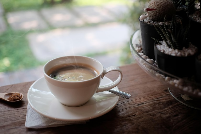 cup of coffee americano, coffee morning concept.
