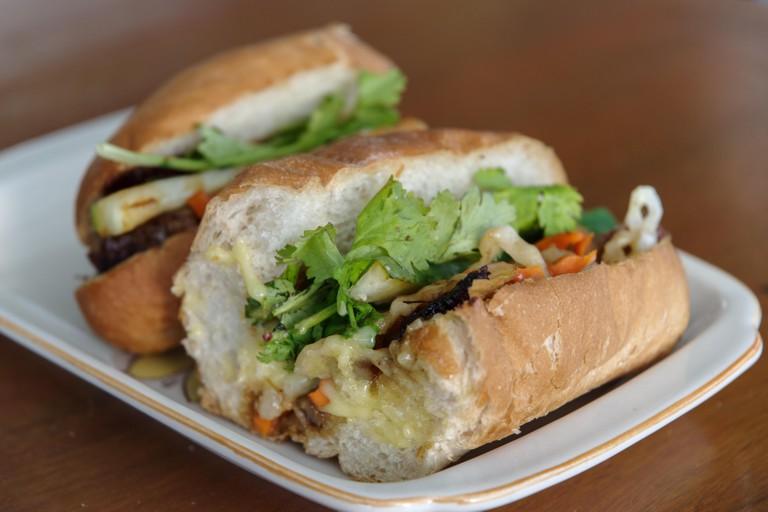 Vietnamese  Baguette Sandwich fork  banh mi