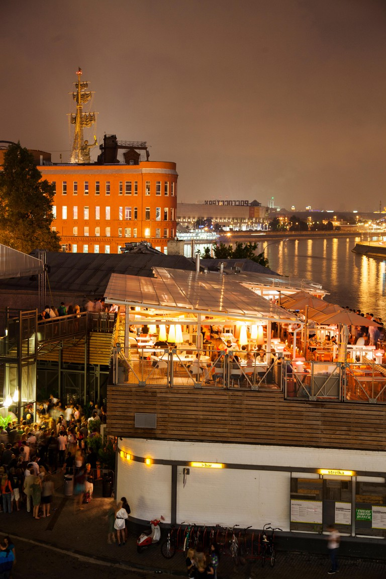 Bar Strelka located by the Moscow River