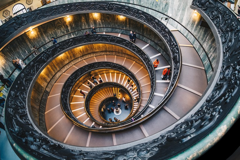 The spiral staircase in the Vatican Museum